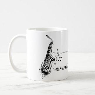 Taza De Café Música y mirlos del saxofón del ~ del saxofón