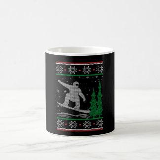 Taza De Café Navidad de la snowboard