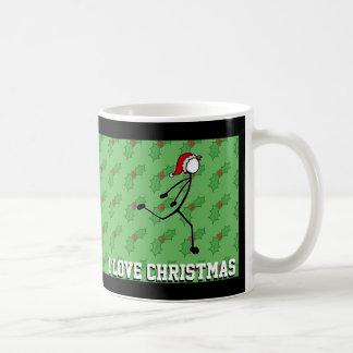 Taza De Café Navidad Santa que sumerge el acebo Stickman del