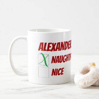 Taza De Café Navidad travieso o Niza personalizado
