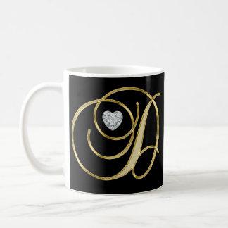 Taza De Café Negro con monograma inicial elegante del oro de la