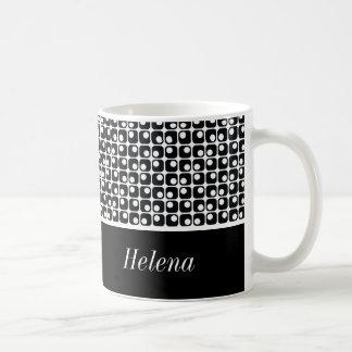 Taza De Café Negro y blanco personalizados, modelo retro de los