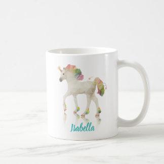 Taza De Café Nombre colorido del polígono del unicornio del
