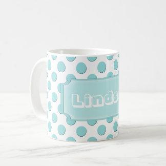Taza De Café Nombre personalizado de los lunares del trullo
