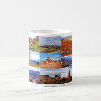 Taza De Café Nueve iconos del collage del paisaje de Utah