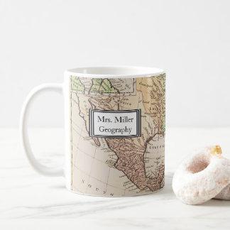 Taza De Café Nuevo profesor de la geografía del mapa del mundo