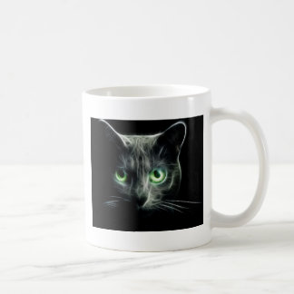 Taza De Café Ojos verdes que brillan intensamente del gato del