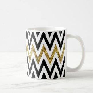 Taza De Café Oro y rayas negras de Chevron