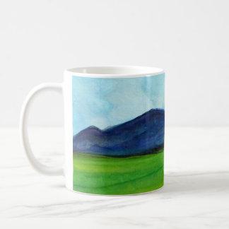 Taza de café, paisaje de la acuarela