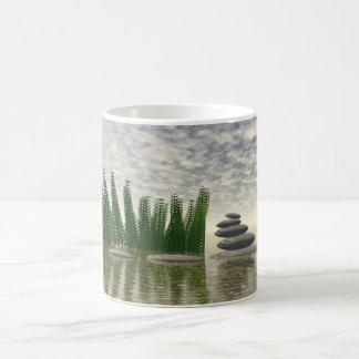 Taza De Café Paisaje hermoso del zen en el medio de acuático