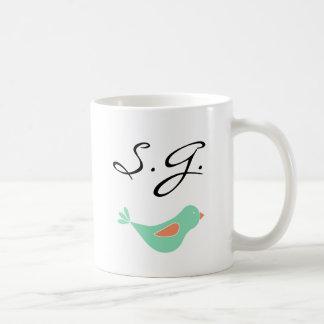 Taza De Café Pájaro verde en colores pastel con monograma