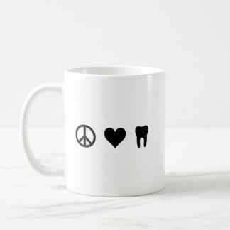 Taza De Café Paz, amor, odontología