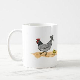 Taza De Café Pequeños gallina gris y polluelo
