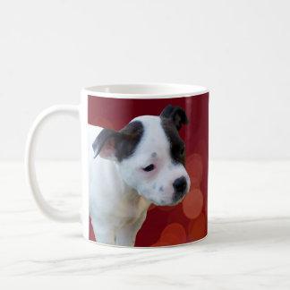 Taza De Café Perrito blanco y negro de Staffordshire bull