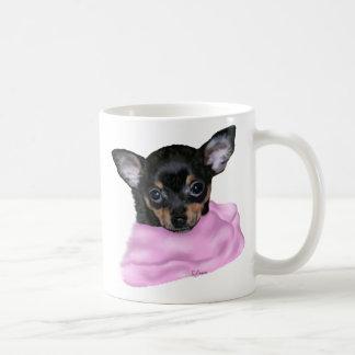 Taza De Café Perrito negro y del moreno de la chihuahua
