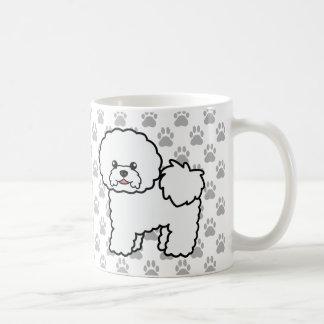 Taza De Café Perros lindos de Bichon Frise del dibujo animado y