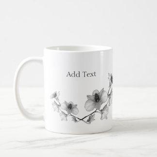 Taza De Café Personalice la orquídea blanco y negro