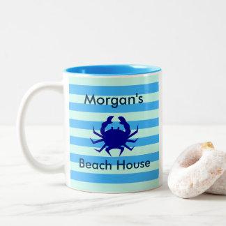 Taza de café personalizada del cangrejo azul de la