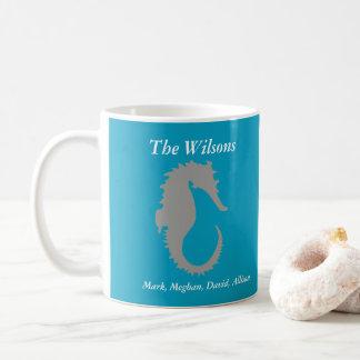 Taza de café personalizada diseño del Seahorse