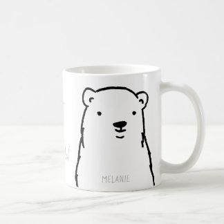 Taza De Café Personalizado moderno del oso polar del invierno