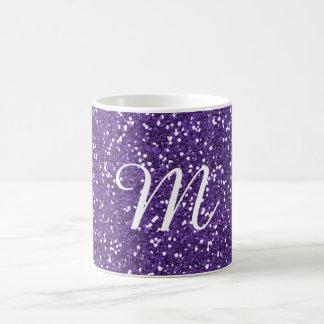 Taza De Café Personalizado púrpura del brillo con monograma
