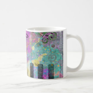 Taza De Café Piano colorido de las salpicaduras frescas de los
