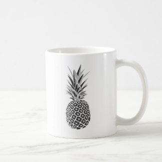 Taza De Café Piña negra y blanca minimalista
