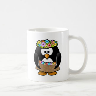 Taza De Café Pingüino hawaiano con las flores y la falda de