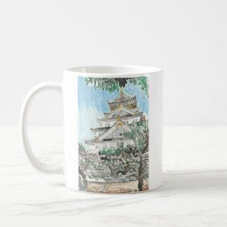 Taza de café pintada Japón del castillo de Osaka