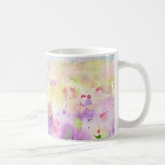 Taza De Café Pintura abstracta del prado del wildflower de la