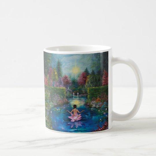 Taza De Café Pintura de la naturaleza - señora del jardín del