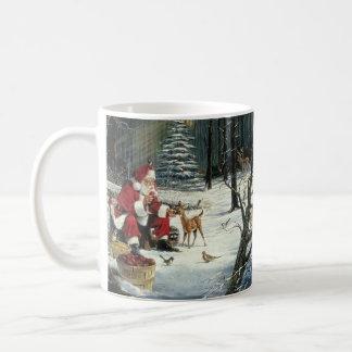 Taza De Café Pintura de Papá Noel - arte del navidad