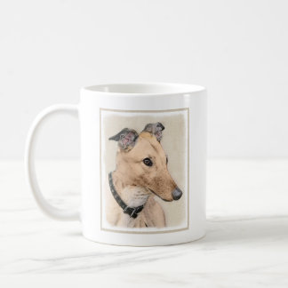 Taza De Café Pintura del galgo - arte original lindo del perro