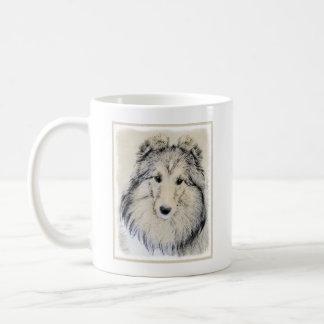 Taza De Café Pintura del perro pastor de Shetland - arte