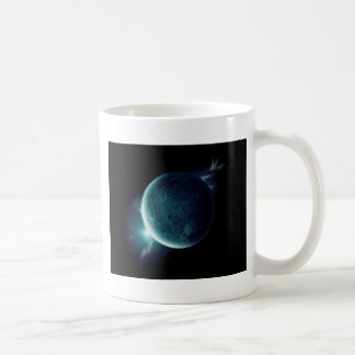 Taza De Café planeta verde en el universo con aureola y