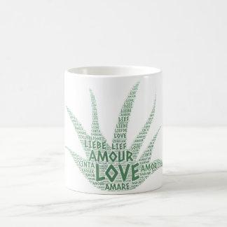 Taza De Café Planta de Alove Vera ilustrada con palabra del