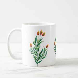 Taza De Café Planta verde de la primavera con los brotes