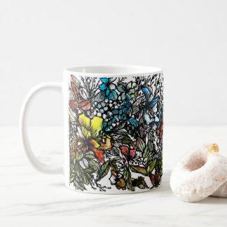 Taza De Café Pluma y lavado originales de la acuarela de la