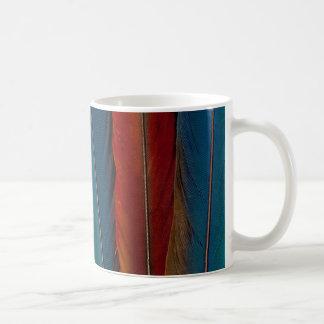Taza De Café Plumas de cola del Macaw del escarlata