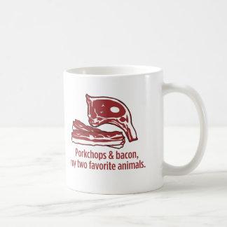 Taza De Café Porkchops y tocino, mis dos animales preferidos