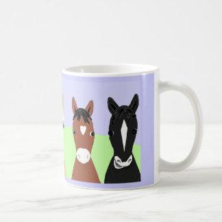 Taza De Café Posters divertidos del caballo, blanqueados o
