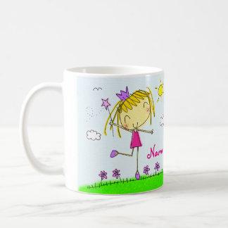 Taza De Café Princesa rubia púrpura rosada linda del ♥ de la