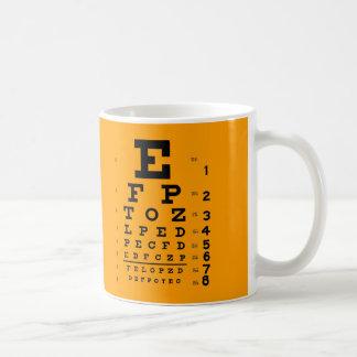 Taza De Café Prueba de la agudeza visual: Carta de ojo retra de