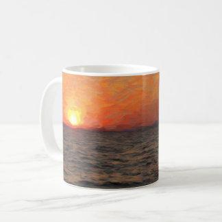 Taza De Café Puesta del sol en el lago Yellowstone