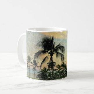 Taza De Café Puesta del sol y árboles tropicales