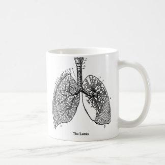 Taza De Café Pulmones médicos del vintage de la anatomía retra