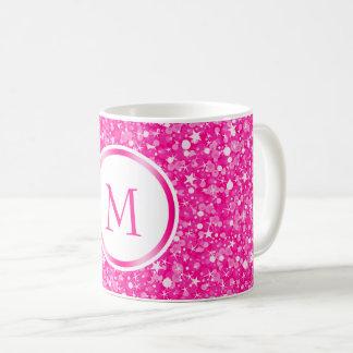 Taza De Café Purpurina blanco y rosado con monograma