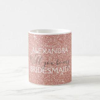 Taza De Café Purpurina del oro y dama de honor color de rosa