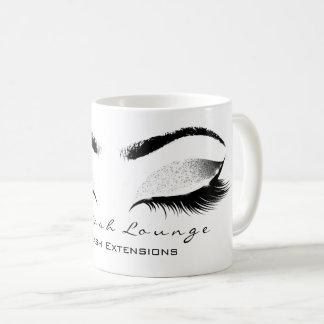 Taza De Café Purpurina gris blanco del estudio de la belleza de