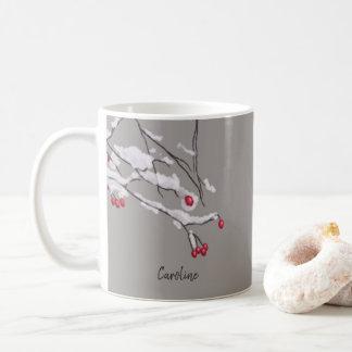 Taza De Café Ramas de las bayas del invierno en nombre del